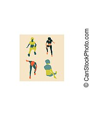 Sporty woman sits on a floor. Short hair girl silhouette...