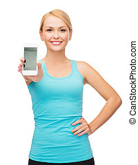 sporty woman with smartphone - sport, exercise, technology,...