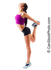 Sporty young girl isolated