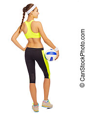 Sporty young girl with ball