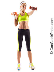 Sporty young girl with dumbbells