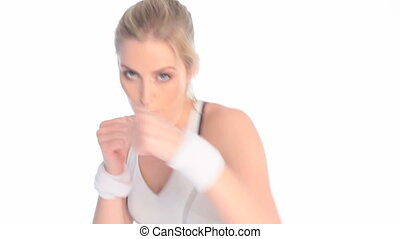 Sporty Young Kickboxing Woman