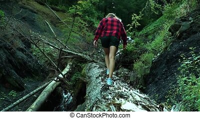 Sporty young woman dressed in red plaid shirt walks up over a fallen tree in the green summer forest