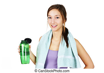 Sporty young woman with water - Cute, healthy and sporty ...
