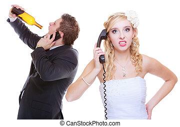 sposa, alcolico, chiamata, aiuto, sposo, ubriaco