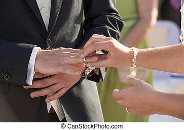 sposa, anello, mettere, dito, sposi