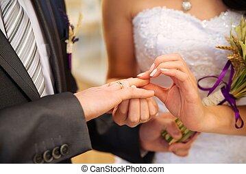 sposa, anello, porta, matrimonio