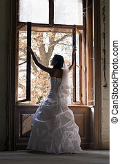 sposa, bianco, dress., cerimoniale, felice