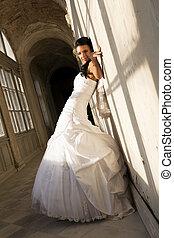 sposa, bianco, dress., giovane, cerimoniale