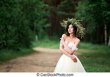 sposa, bianco, ghirlanda, vestire, fiori