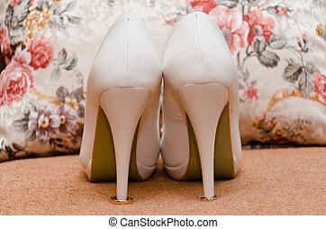 sposa, bianco, scarpa
