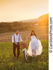 sposa, bianco, sposo, bicicletta, matrimonio