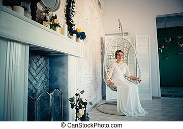sposa, bianco, studio, ritratto