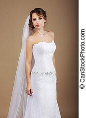 sposa, bianco, velo, attraente, vestire