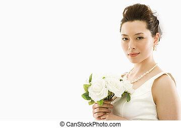 sposa, bouquet.