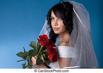 sposa, brunetta, rose rosse