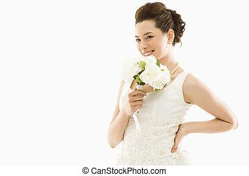 sposa, con, bouquet.