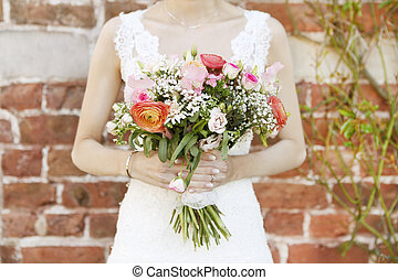 sposa, con, bouquet nuziale