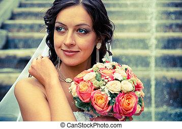 sposa, con, mazzolino