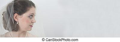 sposa, contro, sfondo bianco
