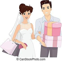 sposa, coppia, sposo, shopping, matrimonio
