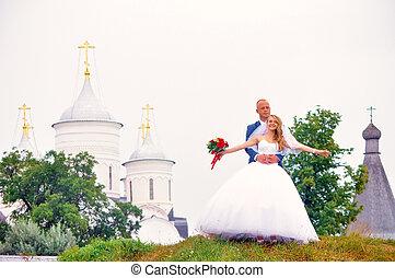 sposa, coppia, sposo, &, sposato
