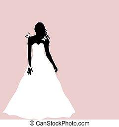 sposa, farfalle, silhouette, cartolina auguri