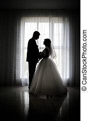 sposa, finestra, sposo, silhouette, fondo