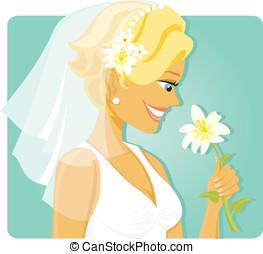 sposa, fiore, odorando