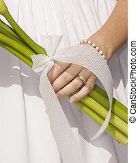 sposa, fiori, presa a terra, mazzo