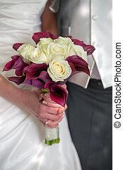 sposa, fiori, sposo, matrimonio