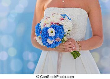 sposa, flowers., vestire, bianco