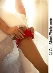 sposa, giovane, nailon, mettere, calze, sexy