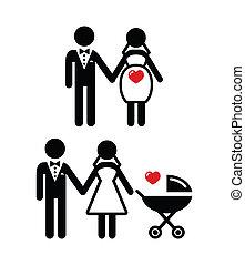 sposa, incinta, carrozzina, icona