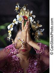 sposa, indonesiano, prega