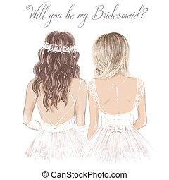 sposa, lato, illustrazione, matrimonio, bianco, invitation., disegnato, stile, mano, damigella d'onore, vendemmia
