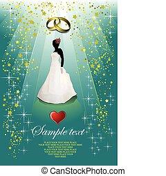 sposa, matrimonio, scheda, invito