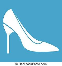 sposa, scarpe bianche, icona