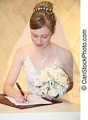 sposa, serie, firma