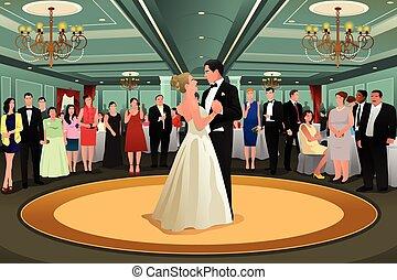 sposa, sposo, ballo, loro, primo, ballo