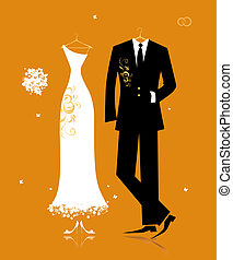sposa, sposo, completo, disegno, abito nunziale, tuo