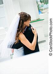 sposa, sposo, coppia., abbracciare, matrimonio