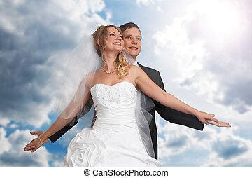 sposa, sposo, coppia, sposato