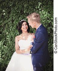 sposa, sposo, fondo, fogliame, felice