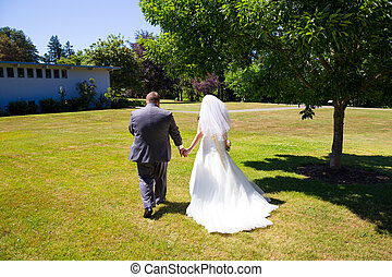 sposa, sposo, giorno, matrimonio