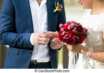 sposa, sposo, giovane, mettere, dito, matrimonio, closeup, anello