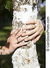 sposa, sposo, mani