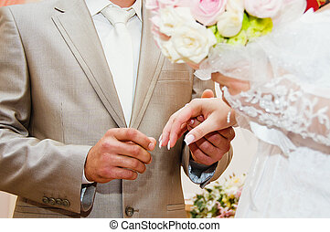 sposa, sposo, mettere, dito, durante, anello
