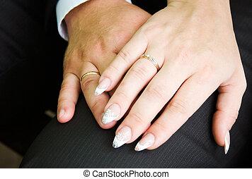 sposa, sposo, mettere, dito, fede