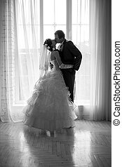 sposa, sposo, silhouette, ritratto